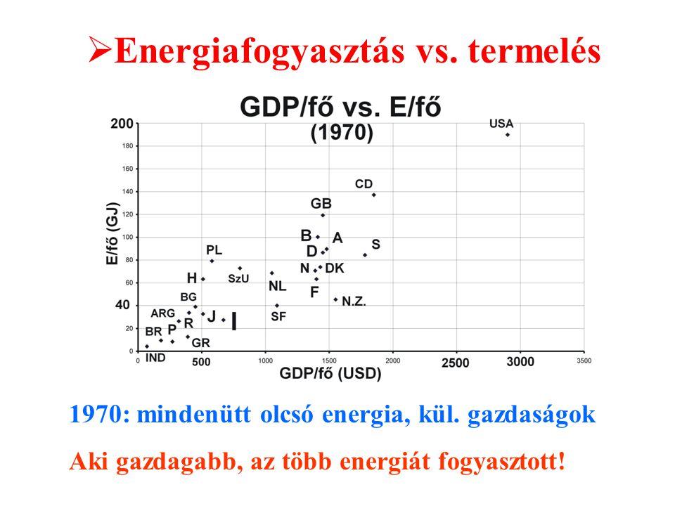 1970: mindenütt olcsó energia, kül. gazdaságok Aki gazdagabb, az több energiát fogyasztott.