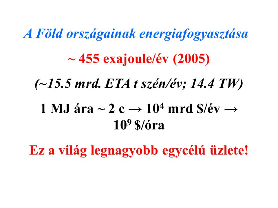 A Föld országainak energiafogyasztása ~ 455 exajoule/év (2005) (~15.5 mrd.