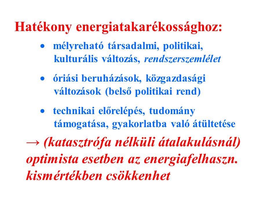Hatékony energiatakarékossághoz:  mélyreható társadalmi, politikai, kulturális változás, rendszerszemlélet  óriási beruházások, közgazdasági változások (belső politikai rend)  technikai előrelépés, tudomány támogatása, gyakorlatba való átültetése → (katasztrófa nélküli átalakulásnál) optimista esetben az energiafelhaszn.