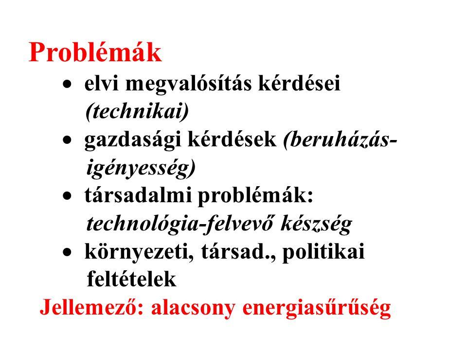 Problémák  elvi megvalósítás kérdései (technikai)  gazdasági kérdések (beruházás- igényesség)  társadalmi problémák: technológia-felvevő készség  környezeti, társad., politikai feltételek Jellemező: alacsony energiasűrűség