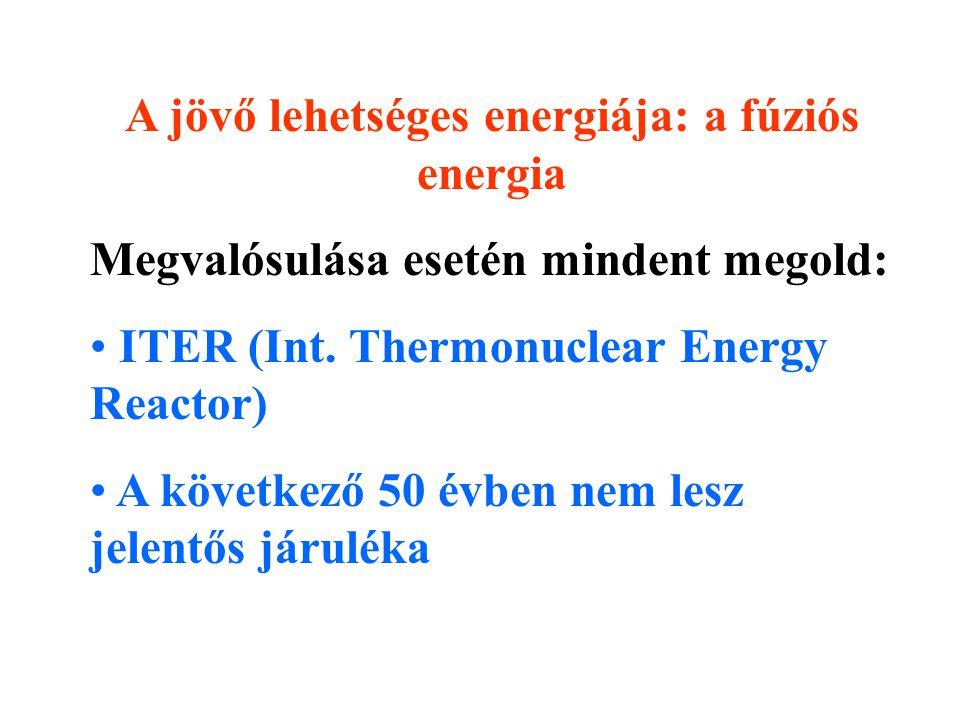 A jövő lehetséges energiája: a fúziós energia Megvalósulása esetén mindent megold: ITER (Int.