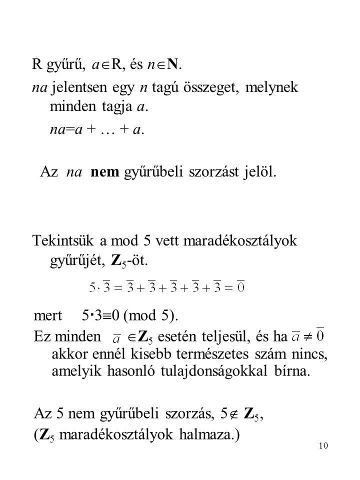 10 R gyűrű, a  R, és n  N. na jelentsen egy n tagú összeget, melynek minden tagja a. na=a + … + a. Az na nem gyűrűbeli szorzást jelöl. Tekintsük a m