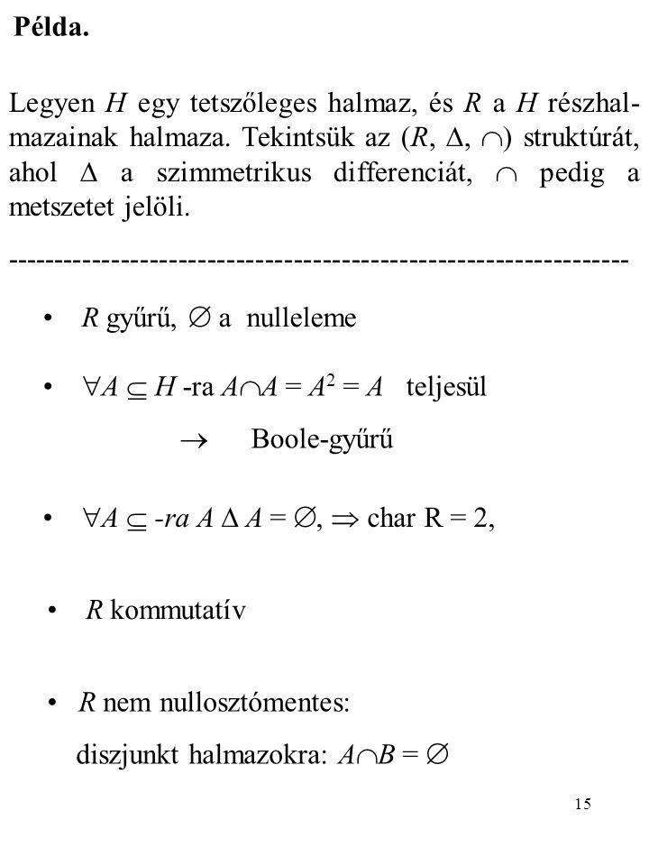 15 Példa. Legyen H egy tetszőleges halmaz, és R a H részhal- mazainak halmaza. Tekintsük az (R, ,  ) struktúrát, ahol  a szimmetrikus differenciát,