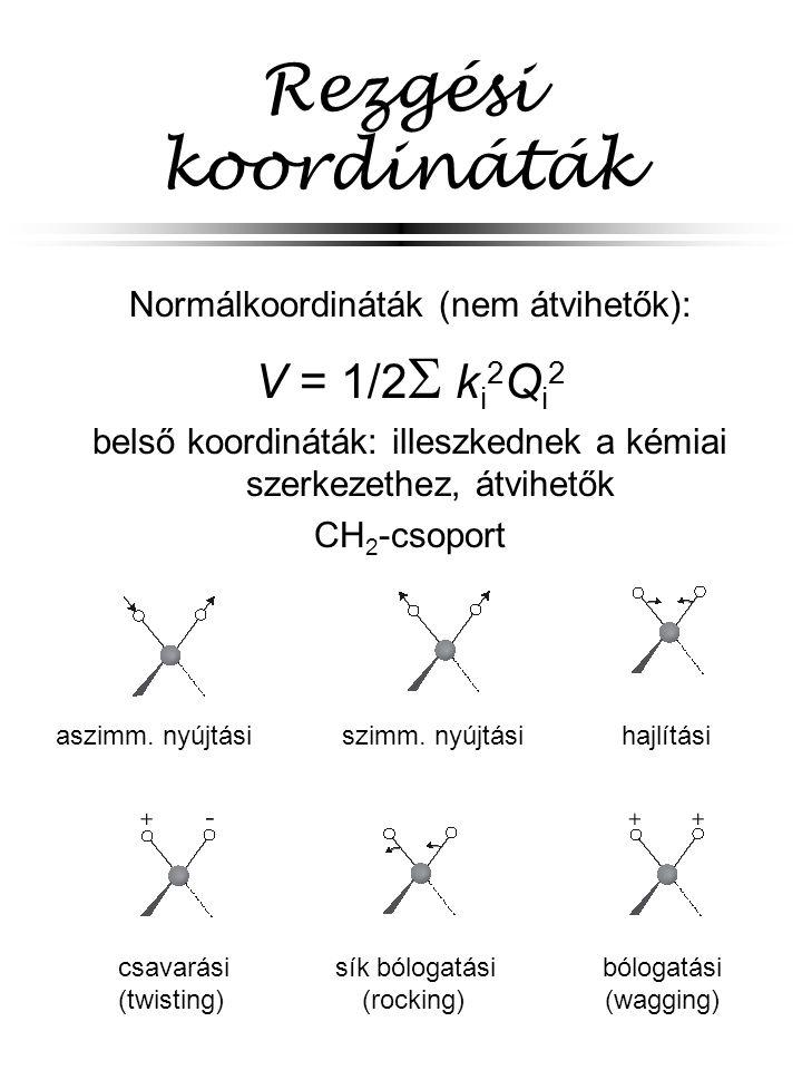 Rezgési koordináták Normálkoordináták (nem átvihetők): V = 1/2  k i 2 Q i 2 belső koordináták: illeszkednek a kémiai szerkezethez, átvihetők CH 2 -cs