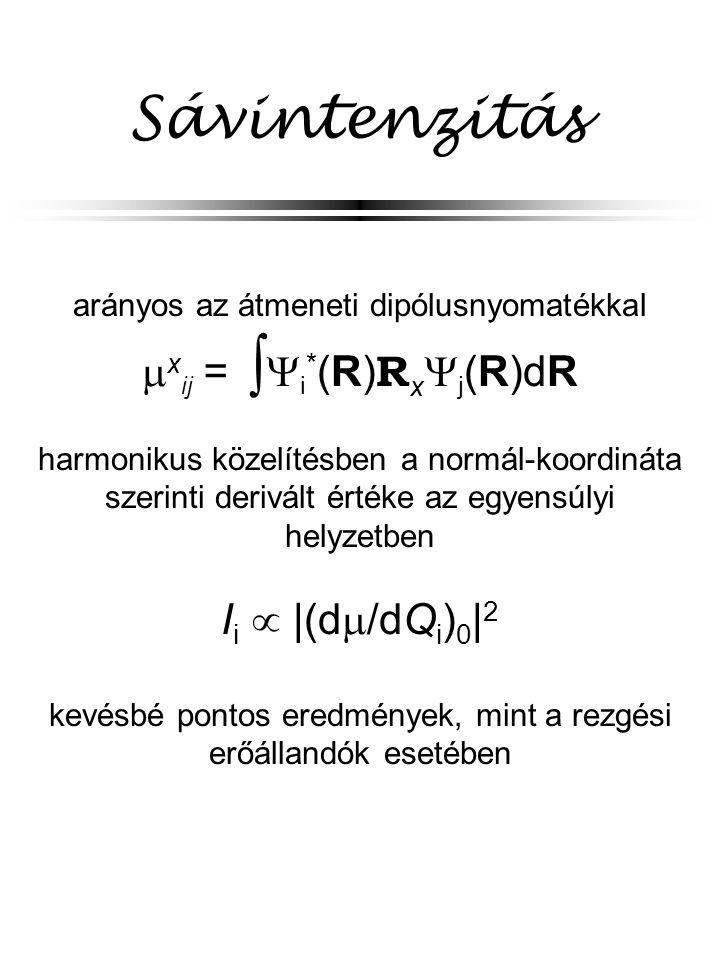 Sávintenzitás arányos az átmeneti dipólusnyomatékkal  x ij =    i * (R) R x  j (R)dR harmonikus közelítésben a normál-koordináta szerinti derivál