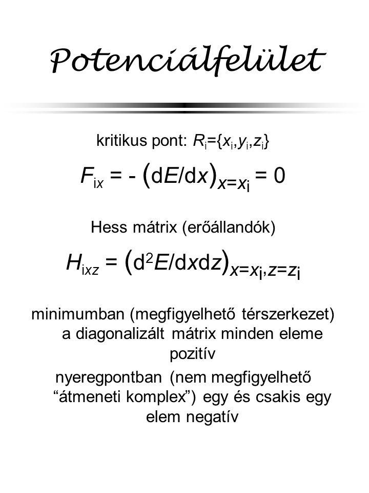 Potenciálfelület kritikus pont: R i ={x i,y i,z i } F ix = - ( dE/dx ) x= x i = 0 Hess mátrix (erőállandók) H ixz = ( d 2 E/dxdz ) x=x i, z=z i minimu