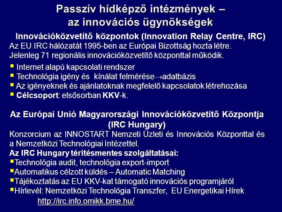 Passzív hídképző intézmények – az innovációs ügynökségek Innovációközvetítő központok (Innovation Relay Centre, IRC) Az EU IRC hálózatát 1995-ben az E
