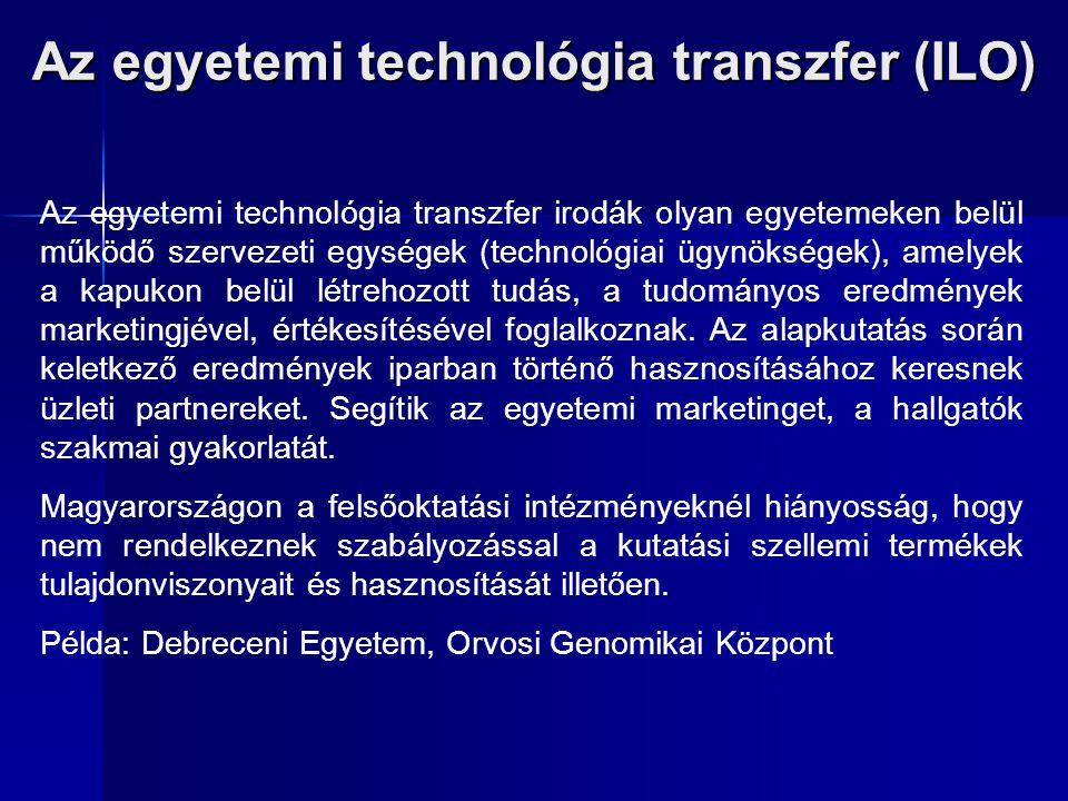 Az egyetemi technológia transzfer (ILO) Az egyetemi technológia transzfer irodák olyan egyetemeken belül működő szervezeti egységek (technológiai ügyn