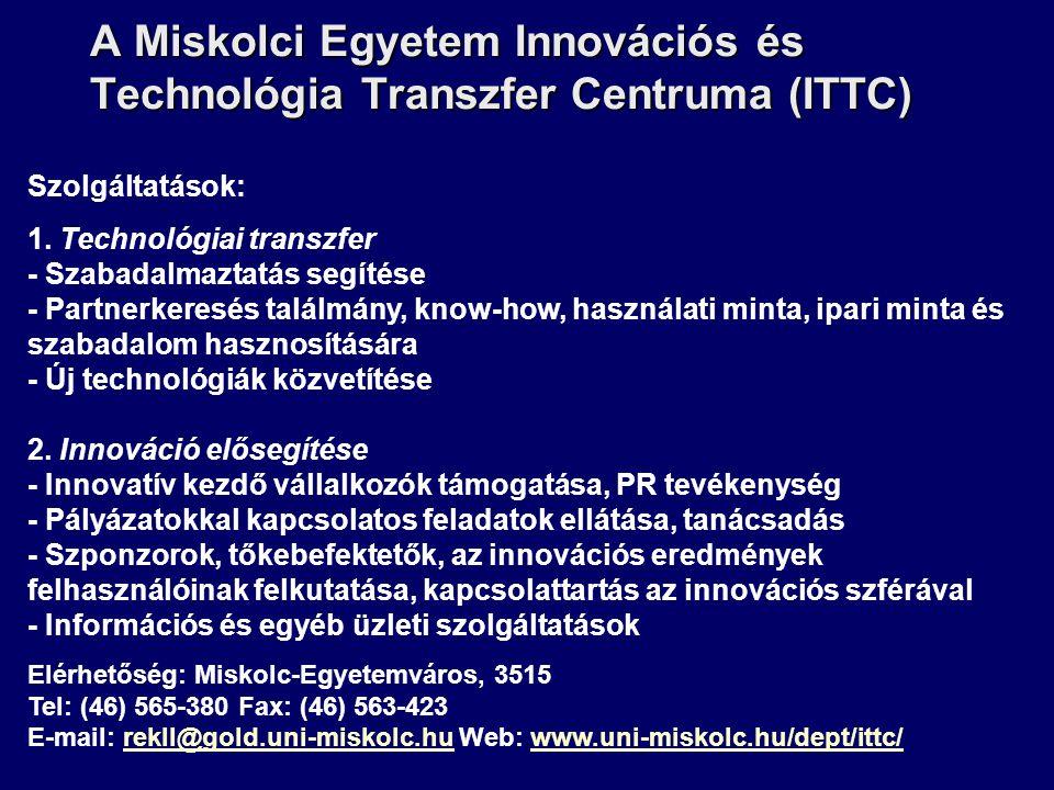 A Miskolci Egyetem Innovációs és Technológia Transzfer Centruma (ITTC) Szolgáltatások: 1. Technológiai transzfer - Szabadalmaztatás segítése - Partner