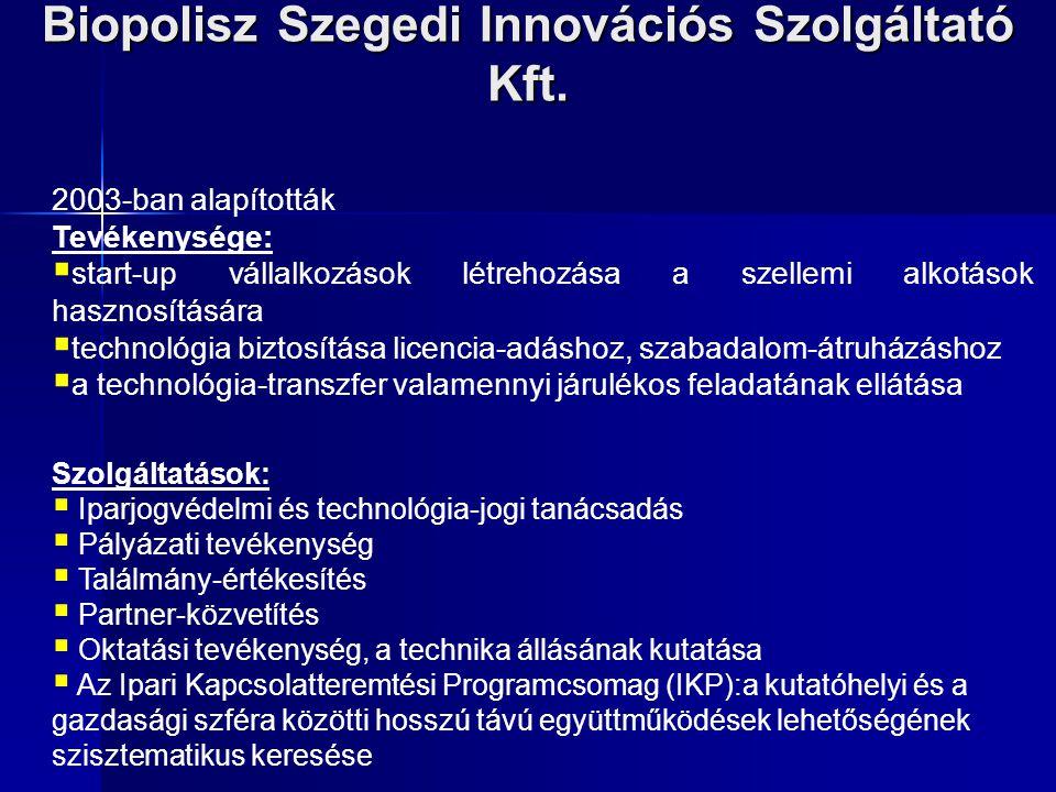 Biopolisz Szegedi Innovációs Szolgáltató Kft. 2003-ban alapították Tevékenysége:  start-up vállalkozások létrehozása a szellemi alkotások hasznosítás