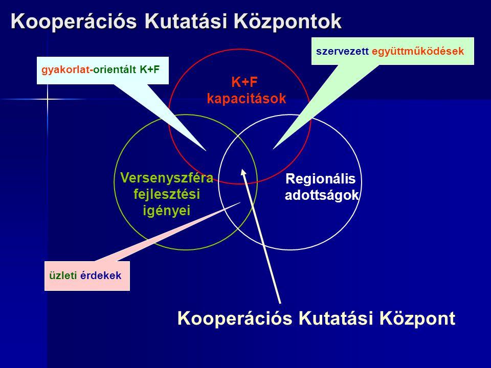 Kooperációs Kutatási Központ K+F kapacitások Versenyszféra fejlesztési igényei Regionális adottságok üzleti érdekek gyakorlat-orientált K+F szervezett