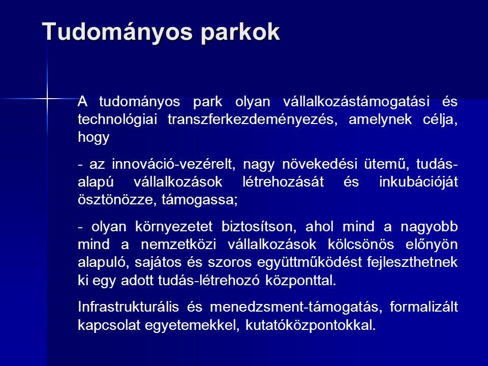 Tudományos parkok A tudományos park olyan vállalkozástámogatási és technológiai transzferkezdeményezés, amelynek célja, hogy - az innováció-vezérelt,