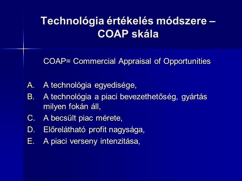 Technológia értékelés módszere – COAP skála COAP= Commercial Appraisal of Opportunities A.A technológia egyedisége, B.A technológia a piaci bevezethet