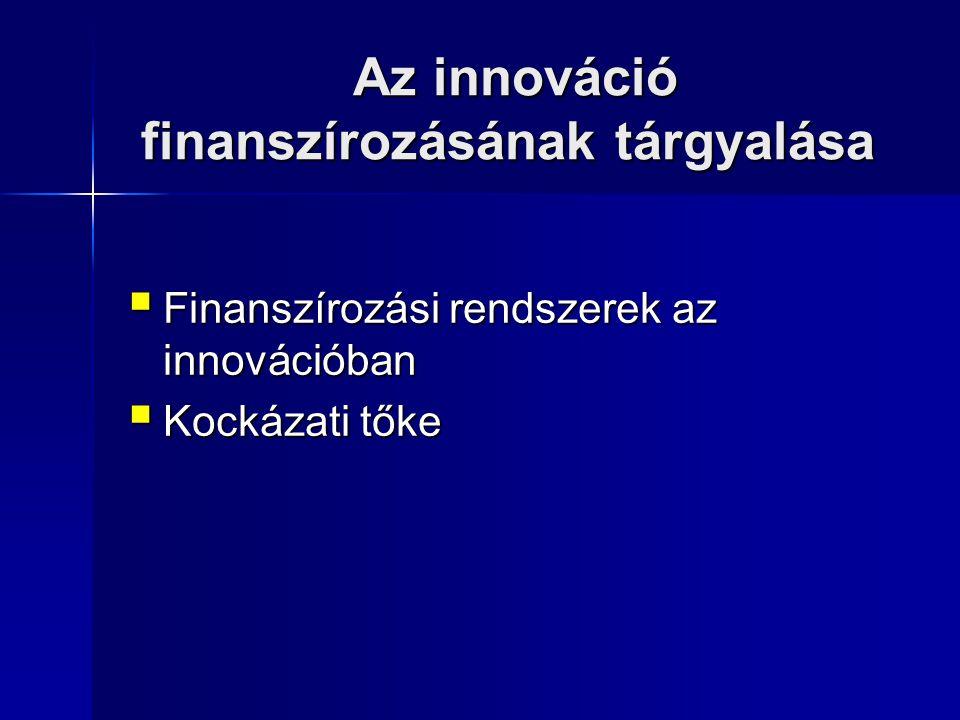 Az innováció finanszírozásának tárgyalása Az innováció finanszírozásának tárgyalása  Finanszírozási rendszerek az innovációban  Kockázati tőke