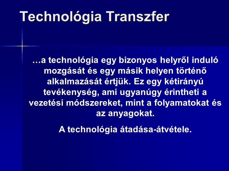 Technológia Transzfer …a technológia egy bizonyos helyről induló mozgását és egy másik helyen történő alkalmazását értjük. Ez egy kétirányú tevékenysé
