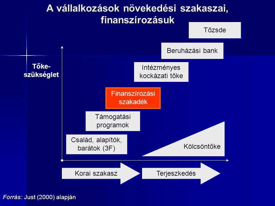 Tőzsde Család, alapítók, barátok (3F) Finanszírozási szakadék Intézményes kockázati tőke Tőke- szükséglet Kölcsöntőke Korai szakasz Terjeszkedés Beruh