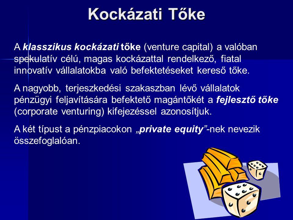 Kockázati Tőke A klasszikus kockázati tőke (venture capital) a valóban spekulatív célú, magas kockázattal rendelkező, fiatal innovatív vállalatokba va