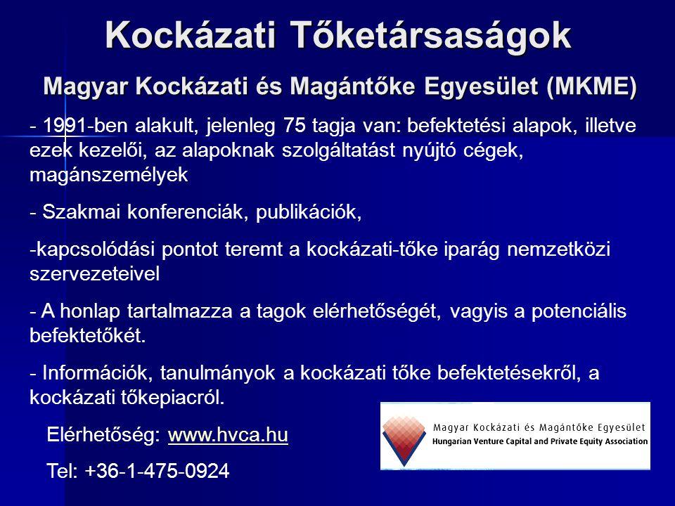Kockázati Tőketársaságok Magyar Kockázati és Magántőke Egyesület (MKME) - 1991-ben alakult, jelenleg 75 tagja van: befektetési alapok, illetve ezek ke