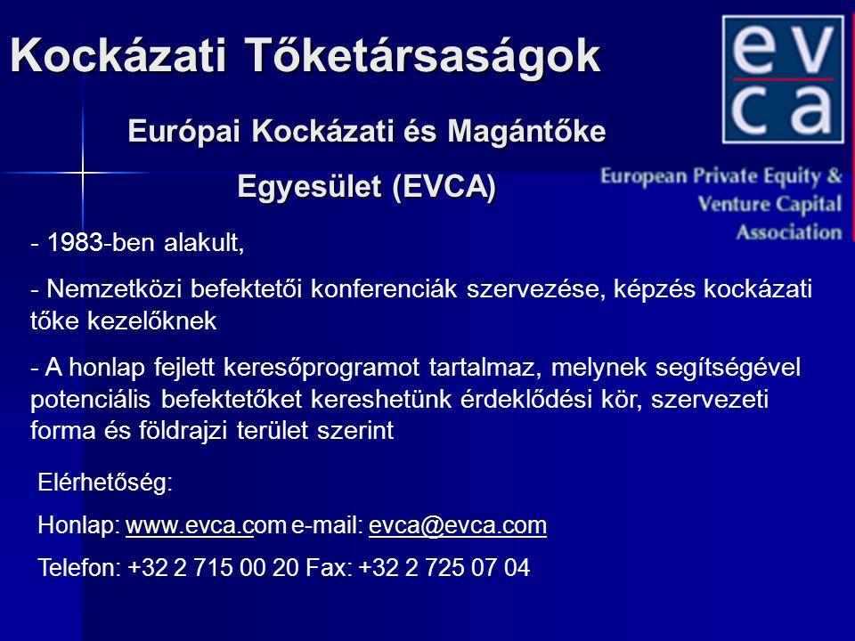 Kockázati Tőketársaságok Európai Kockázati és Magántőke Egyesület (EVCA) Elérhetőség: Honlap: www.evca.com e-mail: evca@evca.comwww.evca.cevca@evca.co