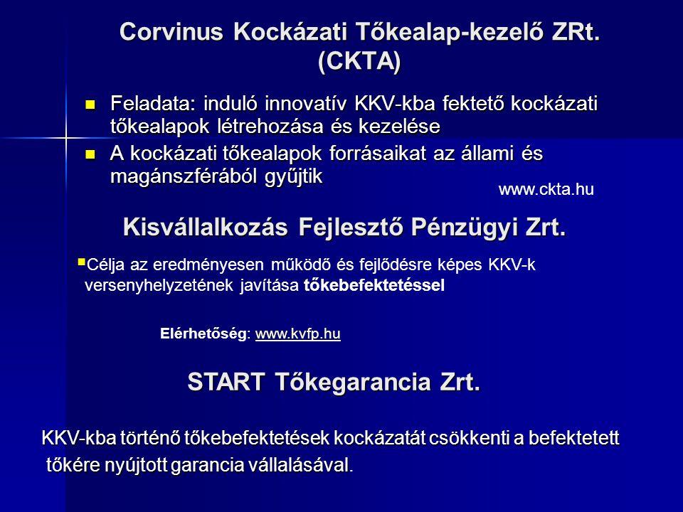 Corvinus Kockázati Tőkealap-kezelő ZRt. (CKTA) Feladata: induló innovatív KKV-kba fektető kockázati tőkealapok létrehozása és kezelése Feladata: indul