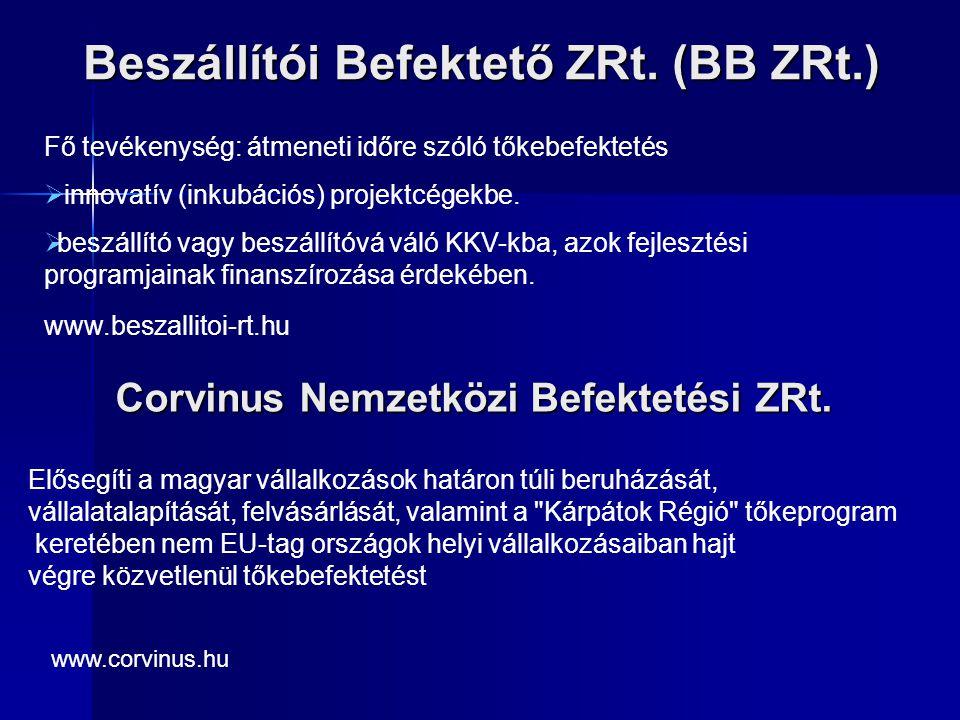 Beszállítói Befektető ZRt. (BB ZRt.) Fő tevékenység: átmeneti időre szóló tőkebefektetés  innovatív (inkubációs) projektcégekbe.  beszállító vagy be