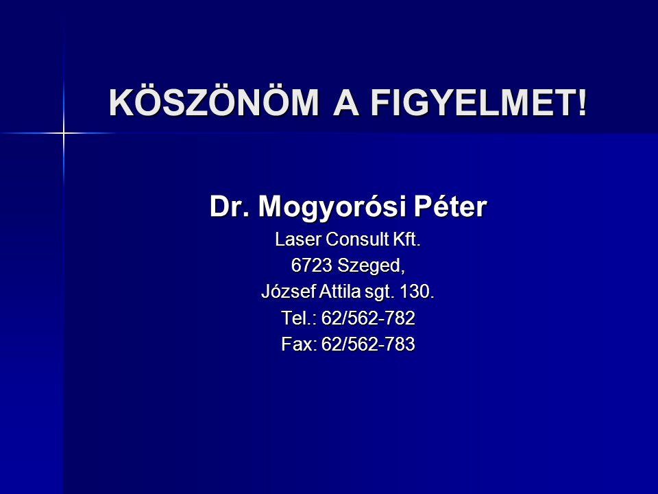 KÖSZÖNÖM A FIGYELMET! Dr. Mogyorósi Péter Laser Consult Kft. 6723 Szeged, József Attila sgt. 130. Tel.: 62/562-782 Fax: 62/562-783