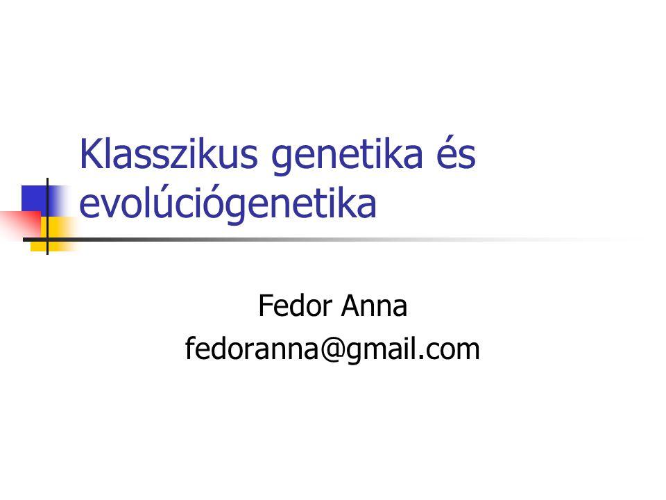 Klasszikus genetika és evolúciógenetika Fedor Anna fedoranna@gmail.com