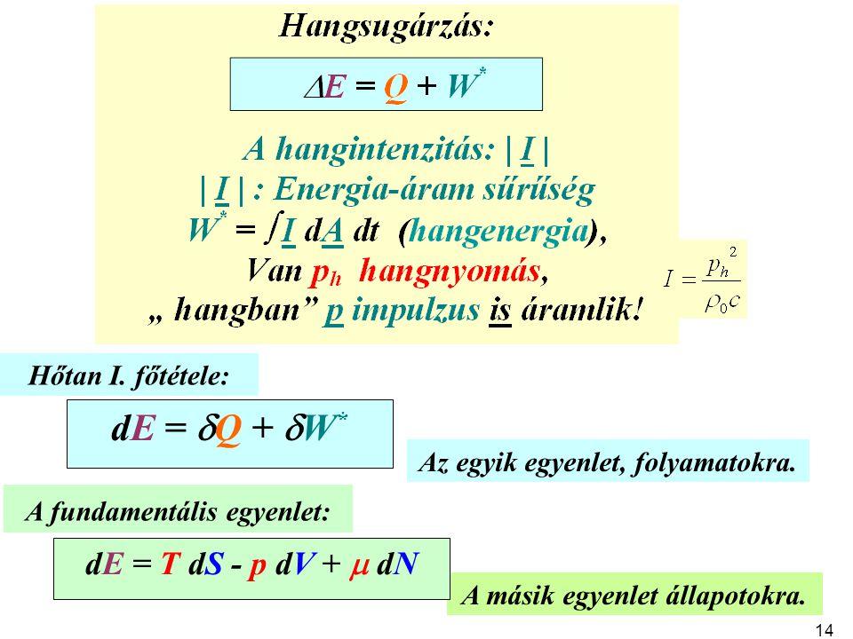 Az egyik egyenlet, folyamatokra. A másik egyenlet állapotokra. A fundamentális egyenlet: dE = T dS - p dV +  dN Hőtan I. főtétele: dE =  Q +  W * 1