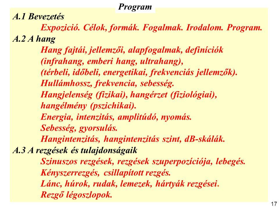 A.1 Bevezetés Expozició. Célok, formák. Fogalmak. Irodalom. Program. A.2 A hang Hang fajtái, jellemzői, alapfogalmak, definíciók (infrahang, emberi ha
