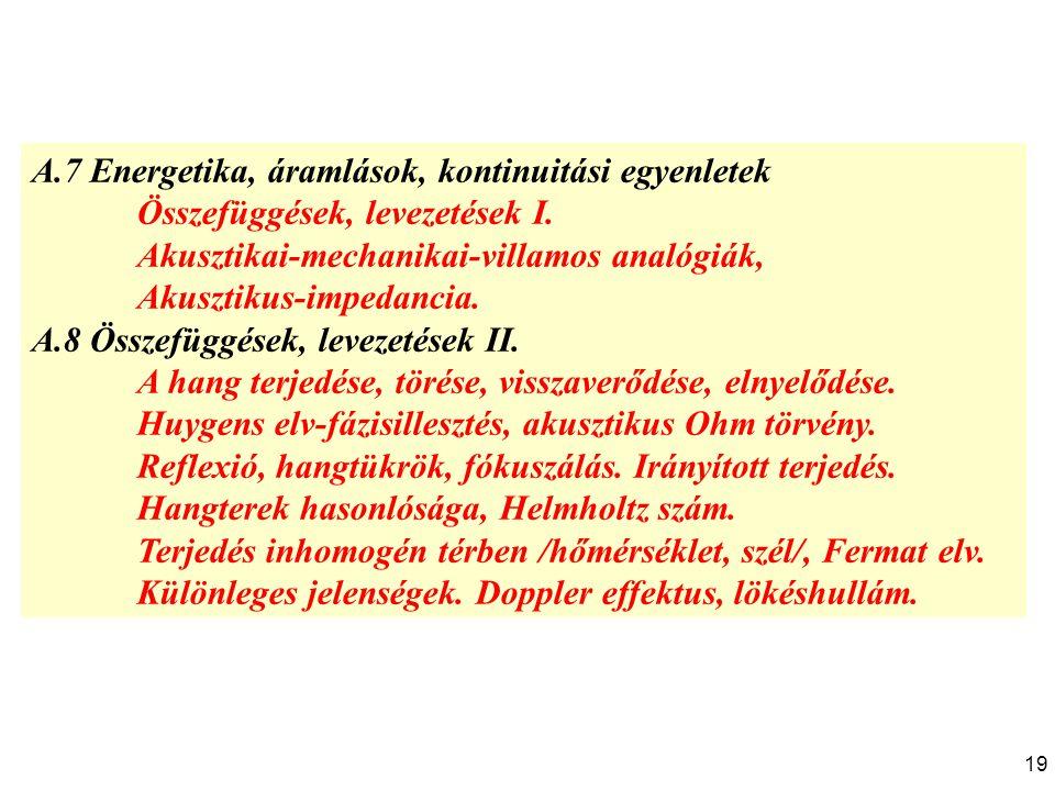 A.7 Energetika, áramlások, kontinuitási egyenletek Összefüggések, levezetések I. Akusztikai-mechanikai-villamos analógiák, Akusztikus-impedancia. A.8