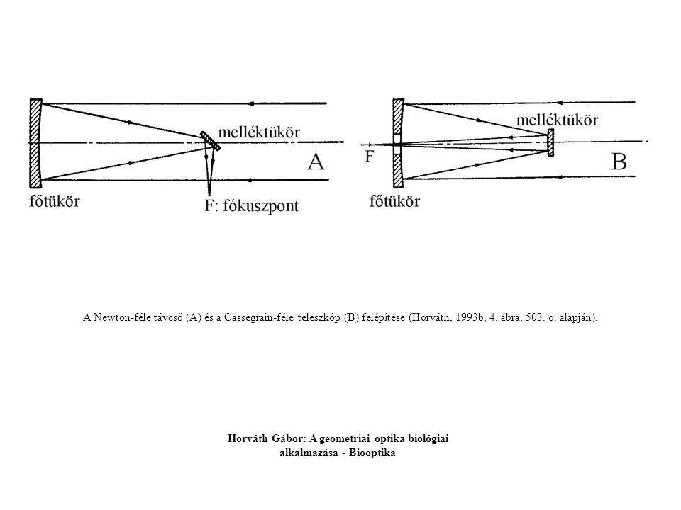 A Newton-féle távcső (A) és a Cassegrain-féle teleszkóp (B) felépítése (Horváth, 1993b, 4. ábra, 503. o. alapján). Horváth Gábor: A geometriai optika