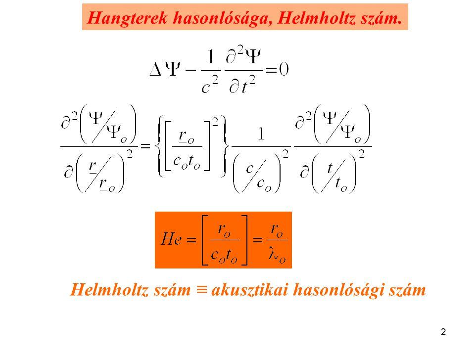 2 Hangterek hasonlósága, Helmholtz szám. Helmholtz szám ≡ akusztikai hasonlósági szám