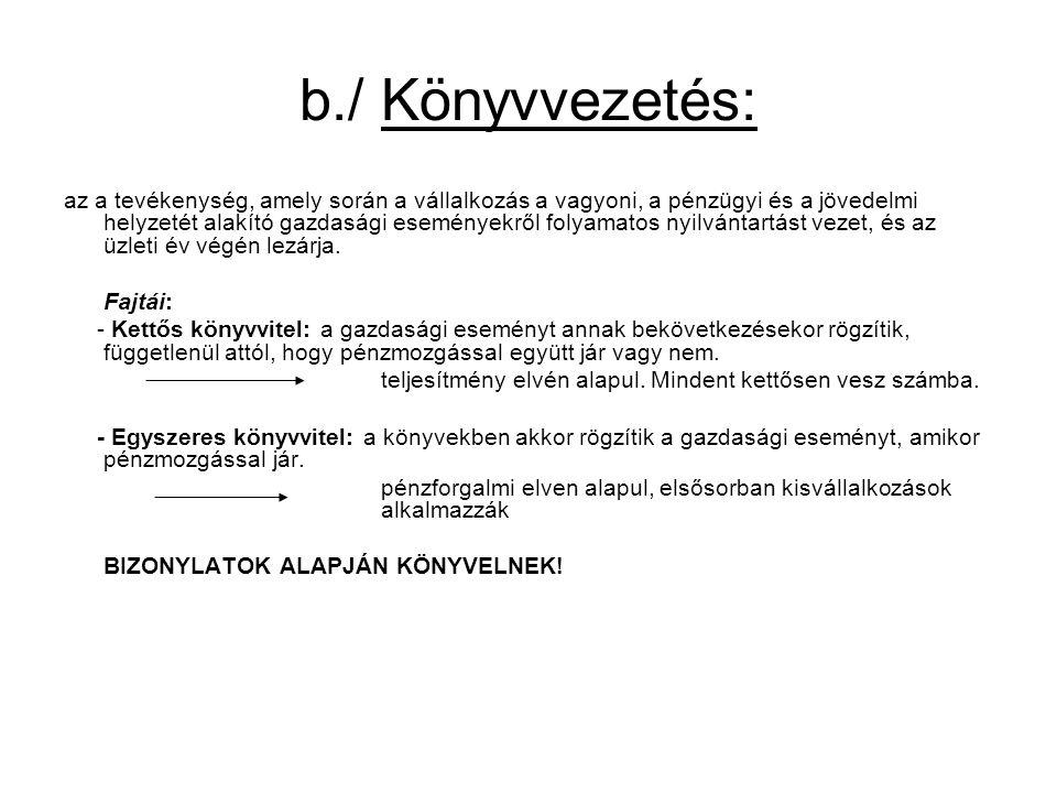 b./ Könyvvezetés: az a tevékenység, amely során a vállalkozás a vagyoni, a pénzügyi és a jövedelmi helyzetét alakító gazdasági eseményekről folyamatos