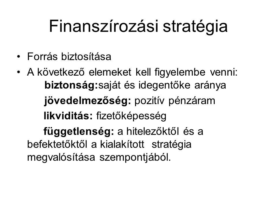Finanszírozási stratégia Forrás biztosítása A következő elemeket kell figyelembe venni: biztonság:saját és idegentőke aránya jövedelmezőség: pozitív p