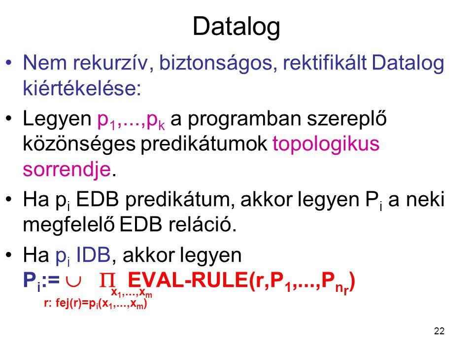 22 Datalog Nem rekurzív, biztonságos, rektifikált Datalog kiértékelése: Legyen p 1,...,p k a programban szereplő közönséges predikátumok topologikus s