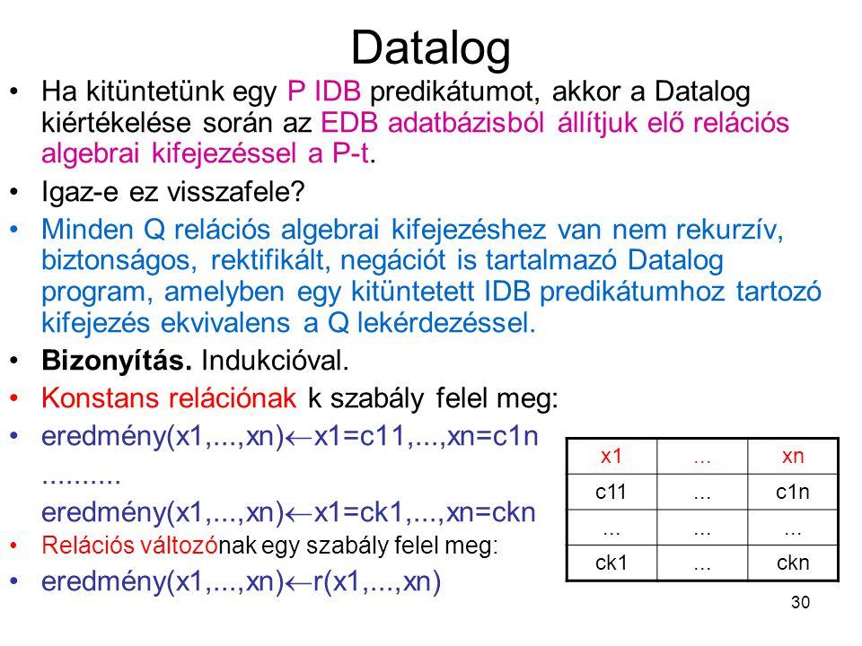 30 Datalog Ha kitüntetünk egy P IDB predikátumot, akkor a Datalog kiértékelése során az EDB adatbázisból állítjuk elő relációs algebrai kifejezéssel a