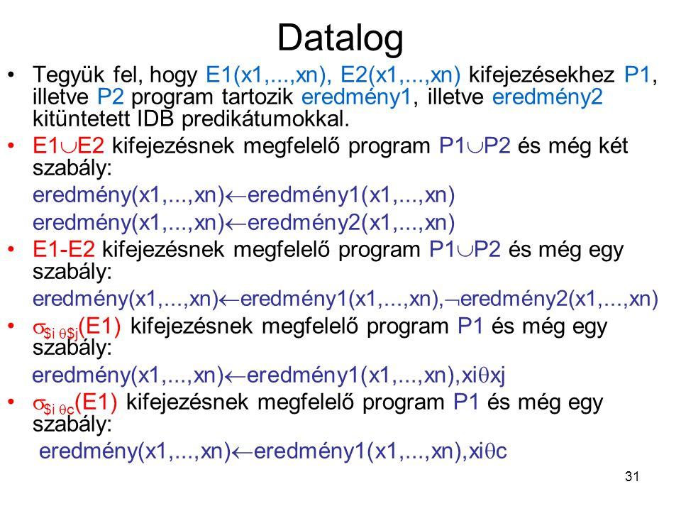31 Datalog Tegyük fel, hogy E1(x1,...,xn), E2(x1,...,xn) kifejezésekhez P1, illetve P2 program tartozik eredmény1, illetve eredmény2 kitüntetett IDB p