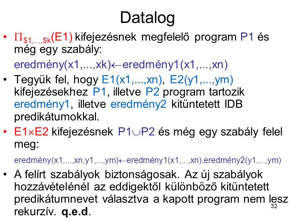 32 Datalog  $1,...,$k (E1) kifejezésnek megfelelő program P1 és még egy szabály: eredmény(x1,...,xk)  eredmény1(x1,...,xn) Tegyük fel, hogy E1(x1,..