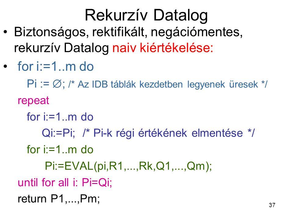 37 Rekurzív Datalog Biztonságos, rektifikált, negációmentes, rekurzív Datalog naiv kiértékelése: for i:=1..m do Pi :=  ; /* Az IDB táblák kezdetben