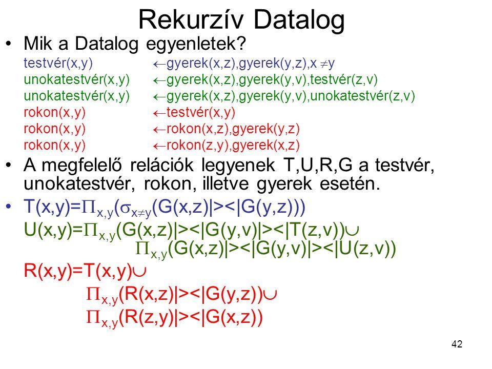 42 Rekurzív Datalog Mik a Datalog egyenletek? testvér(x,y)  gyerek(x,z),gyerek(y,z),x  y unokatestvér(x,y)  gyerek(x,z),gyerek(y,v),testvér(z,v) u