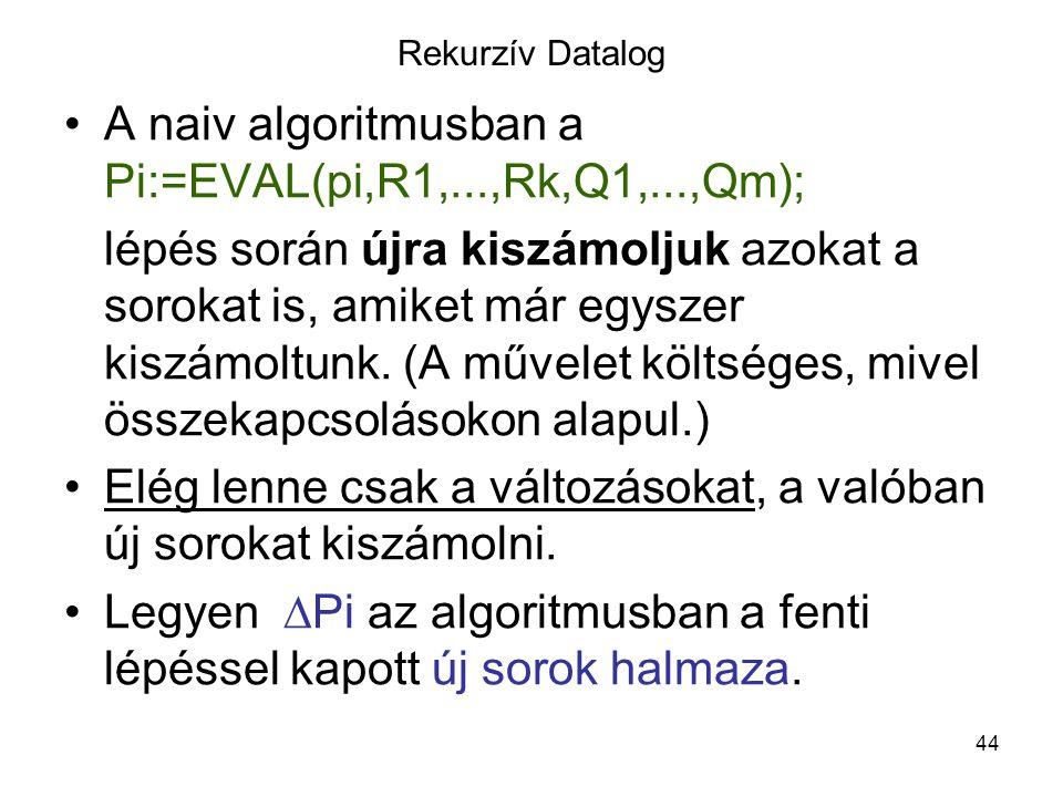 44 Rekurzív Datalog A naiv algoritmusban a Pi:=EVAL(pi,R1,...,Rk,Q1,...,Qm); lépés során újra kiszámoljuk azokat a sorokat is, amiket már egyszer kisz