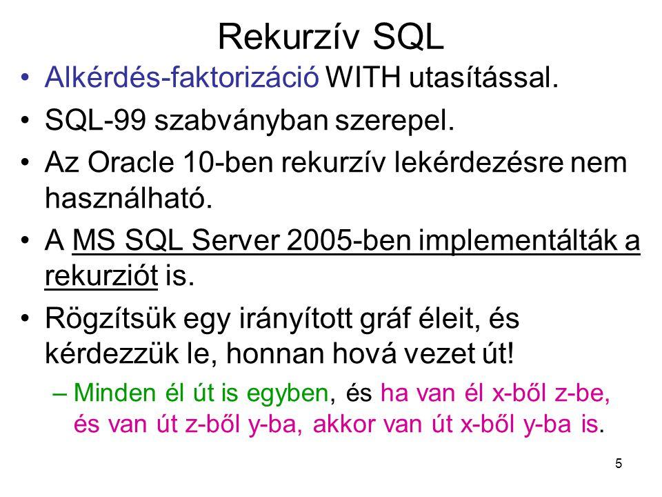 6 Rekurzív SQL create table el (honnan INT, hova INT); insert into el values (1,2); insert into el values (2,3), insert into el values (1,4); WITH ut AS (select * from el union all select el.honnan, ut.hova from el, ut where el.hova=ut.honnan) select * from ut; honnanhova 12 23 14 el: 1 43 2 honnanhova 12 23 14 13 ut:
