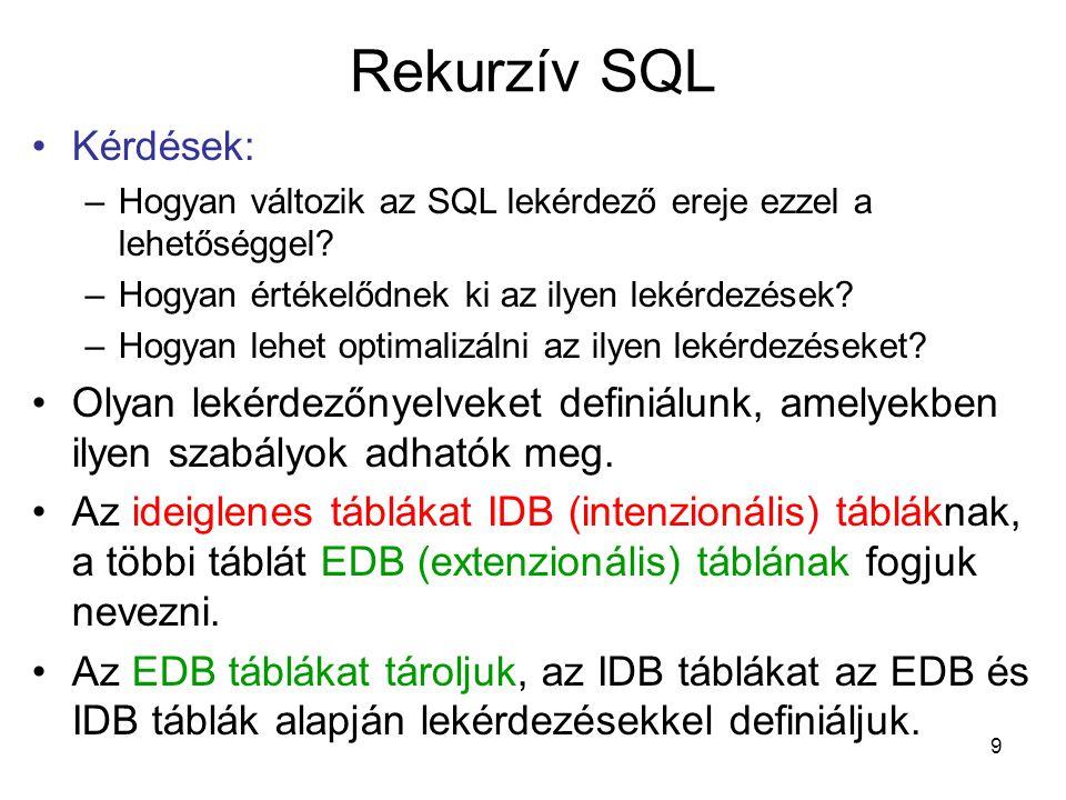 9 Rekurzív SQL Kérdések: –Hogyan változik az SQL lekérdező ereje ezzel a lehetőséggel? –Hogyan értékelődnek ki az ilyen lekérdezések? –Hogyan lehet op