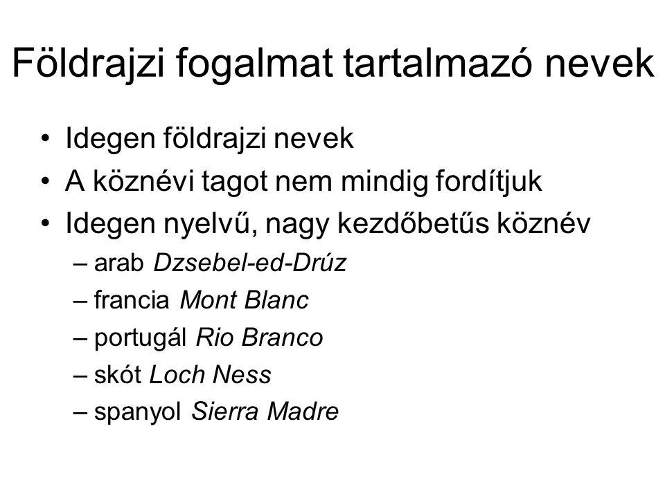 Földrajzi fogalmat tartalmazó nevek Idegen földrajzi nevek A köznévi tagot nem mindig fordítjuk Idegen nyelvű, nagy kezdőbetűs köznév –arab Dzsebel-ed-Drúz –francia Mont Blanc –portugál Rio Branco –skót Loch Ness –spanyol Sierra Madre
