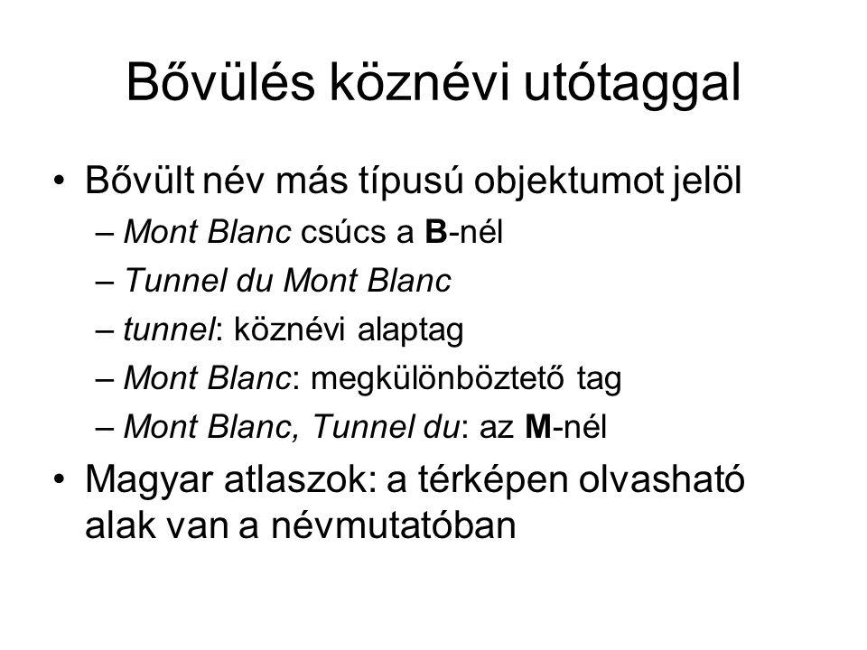 Bővülés köznévi utótaggal Bővült név más típusú objektumot jelöl –Mont Blanc csúcs a B-nél –Tunnel du Mont Blanc –tunnel: köznévi alaptag –Mont Blanc: megkülönböztető tag –Mont Blanc, Tunnel du: az M-nél Magyar atlaszok: a térképen olvasható alak van a névmutatóban