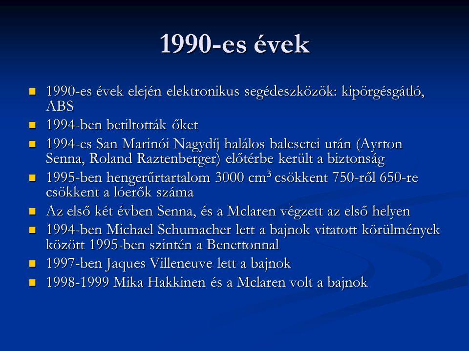 1990-es évek 1990-es évek elején elektronikus segédeszközök: kipörgésgátló, ABS 1990-es évek elején elektronikus segédeszközök: kipörgésgátló, ABS 199