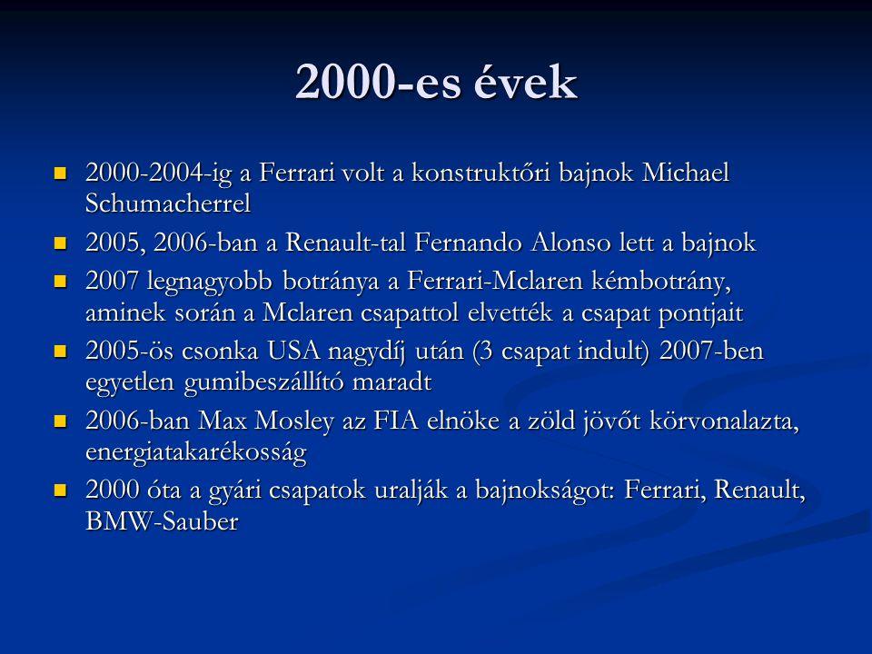 2000-es évek 2000-2004-ig a Ferrari volt a konstruktőri bajnok Michael Schumacherrel 2000-2004-ig a Ferrari volt a konstruktőri bajnok Michael Schumac
