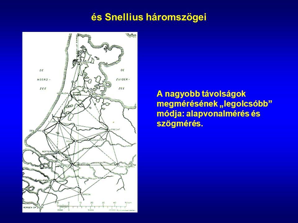 """és Snellius háromszögei A nagyobb távolságok megmérésének """"legolcsóbb"""" módja: alapvonalmérés és szögmérés."""