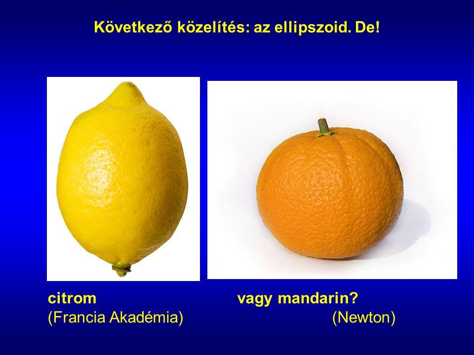 citromvagy mandarin? (Francia Akadémia)(Newton) Következő közelítés: az ellipszoid. De!