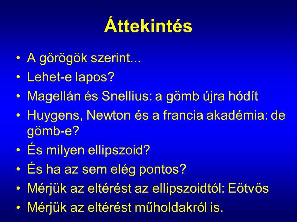 Áttekintés A görögök szerint... Lehet-e lapos? Magellán és Snellius: a gömb újra hódít Huygens, Newton és a francia akadémia: de gömb-e? És milyen ell